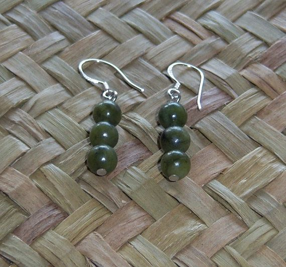 Nephrite Jade Earrings with Sterling Silver Ear by OceanicBeads, $19.00