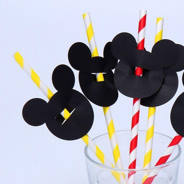 50 pieces/lot Paper straws topper  Black  Mickey Head Confetti - Mickey Mouse Clubhouse, Mickey Confetti, Table Decor