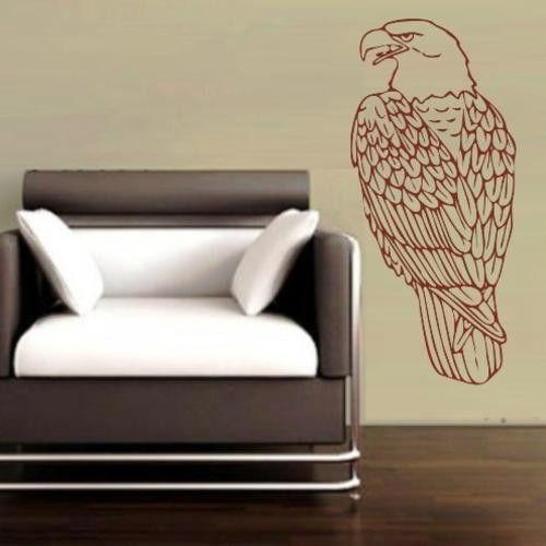 PERCHED EAGLE BIRD 2 WALL ART STICKER MED VINYL DECAL