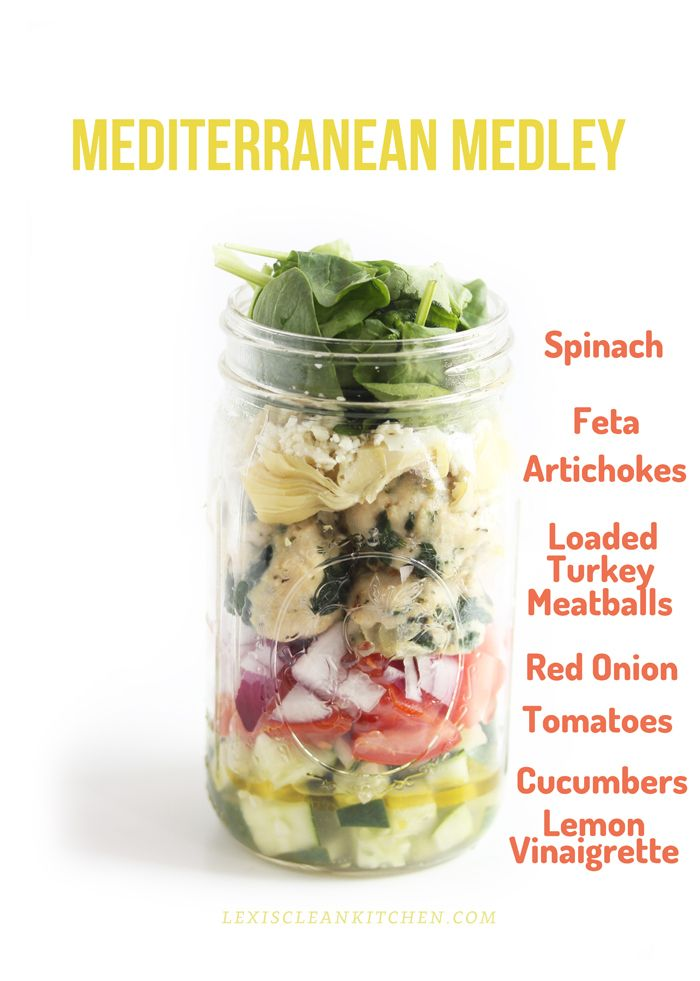 Mediterranean Medley | spinach, feta, artichokes, turkey meatballs, red onion, tomatoes, cucumbers, lemon vinaigrette