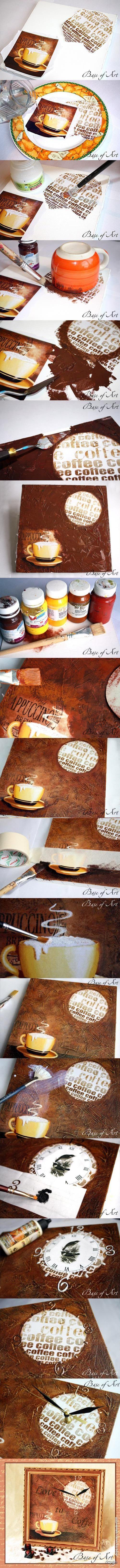 "Декупаж - Сайт любителей декупажа - DCPG.RU   Часы-картина ""Love to coffe"". Мастер-класс от ""Base of Art""."