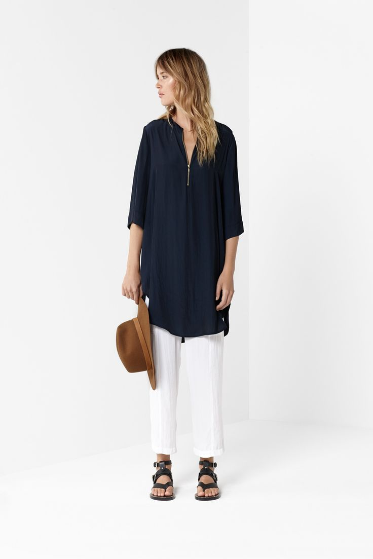 Navy Bell Zip Tunic White Midi Panel Pant