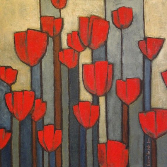Red Tulips Painting 16 x 16 inch Original Abstract by robinsart, $145.00
