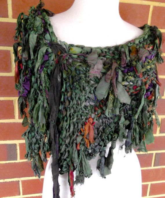 Tattered Forest Green Woodland Recycled Sari Silk by plumfish