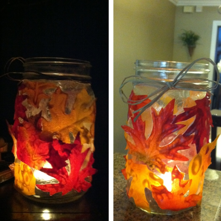 Modge podged leaves onto a mason jar, perfect for fall deco leaves .99 @Michael Sullivan