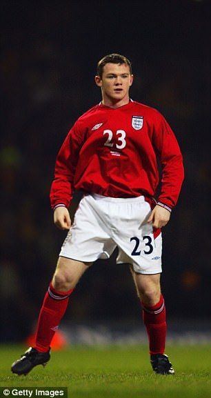 Rooney pictured on his debut against Australia in 2003