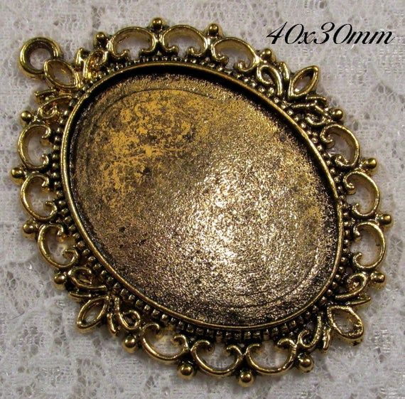 40x30mm Antique Gold Setting Old World Lace 1 pc : sku