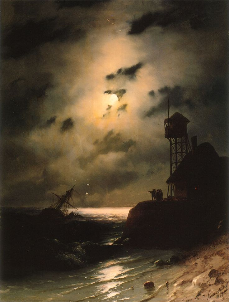 Moonlit Seascape With Shipwreck by Ivan Aivazovsky Russian - 1863AD