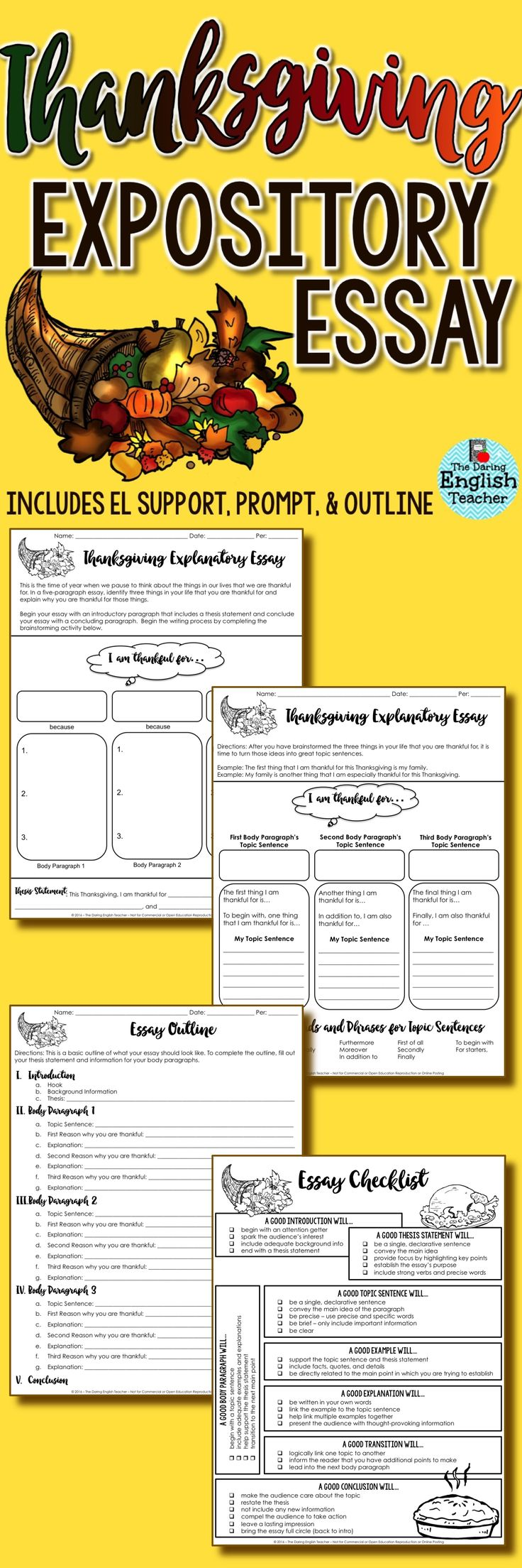 Thanksgiving expository writing for middle school and high school ELA. Includes: essay prompt, brainstorming, and outline.