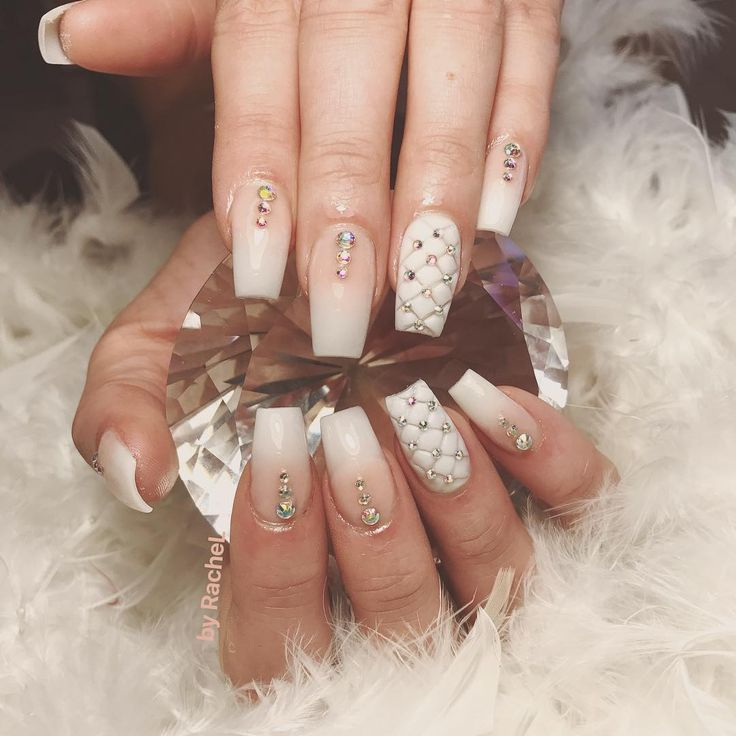 White natural nails ombre nails with swarowski crystals