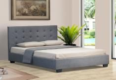 ITALIAN DESIGN NEW ALEXIS QUEEN SIZE GREY QUALITY FABRIC LINEN WOODEN BED FRAME