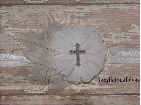 White Baptism Headband  Baptism Headband  by BabyliciousDivas