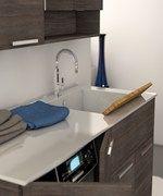 Mobile lavabo per lavatrice con armadio LAVANDERIA 1 - LEGNOBAGNO: Mobile lavabo per lavatrice in legno in stile moderno con armadio con spe...
