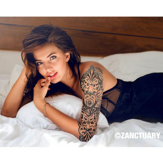 henna temporary tattoo sleeve for women sun and moon tattoo henna tattoo fake tattoo sleeve full. Black Bedroom Furniture Sets. Home Design Ideas