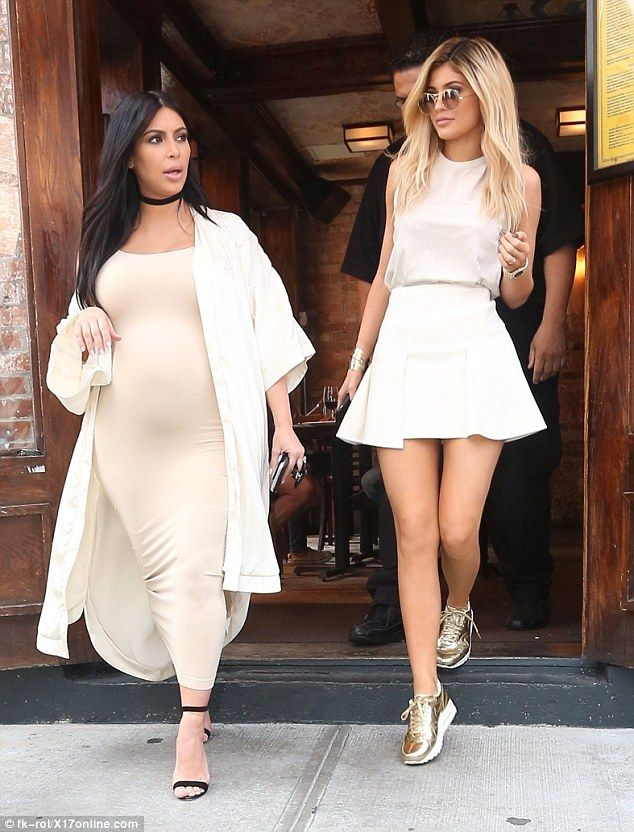 Sister act: Kim, 34, and Kylie, 18, enjoyed a lunch date together, coordinated in the same colour palette