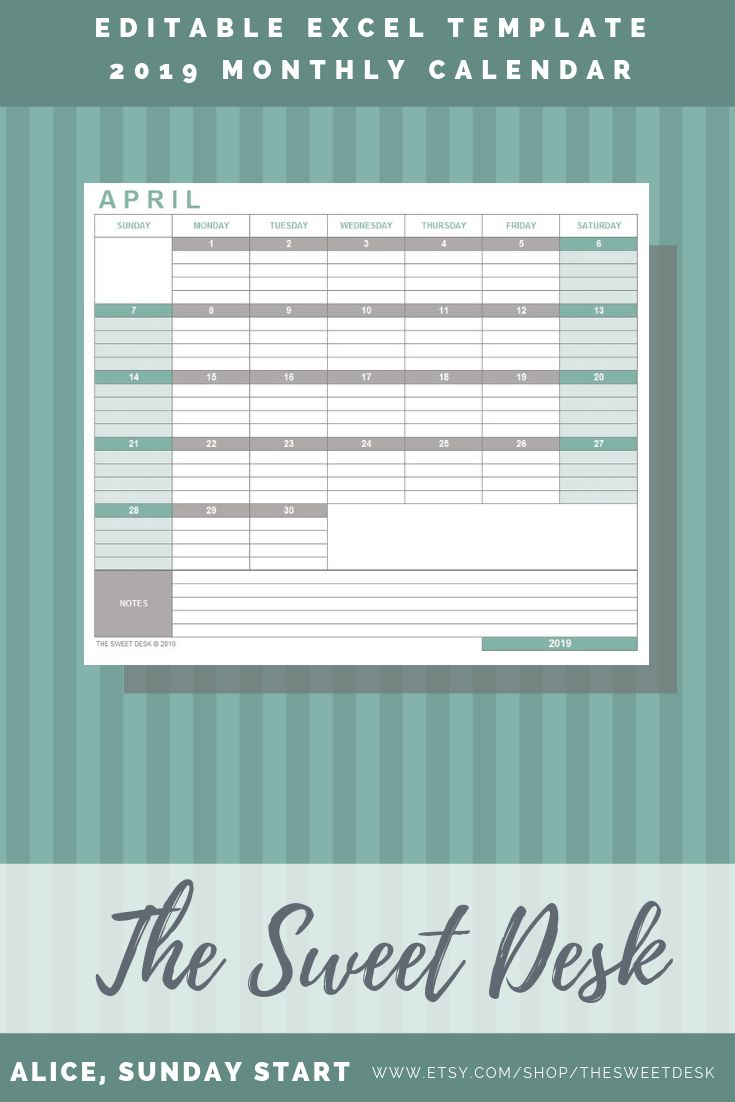 editable excel monthly calendar 2019  printable calendar