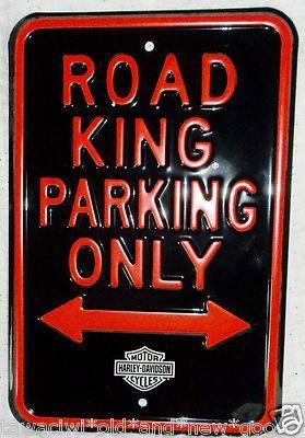Harley Davidson Embossed Road King Parking Only Porcelain Sign Advertising Sign ebay Item number:261215914340