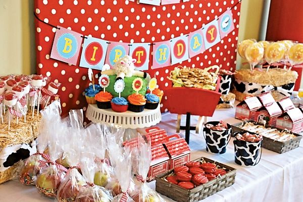 """Birthday Farm"" Barnyard Party--This is adorable! How fun would it be to have a petting zoo at this party?!"