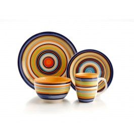 STRIPE GALORE dinnerware set, 16 PC (SERVICE FOR 4)  Cool design!