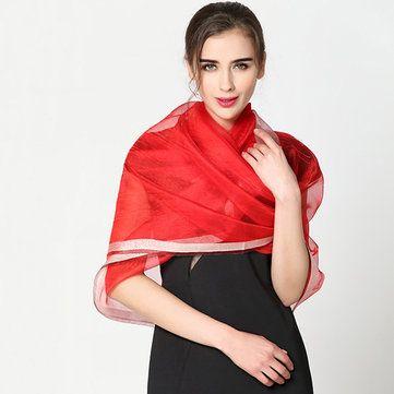 Women Soft Silk-Satin Scarves Solid Color Long Sunscreen Beach Towel Shawl
