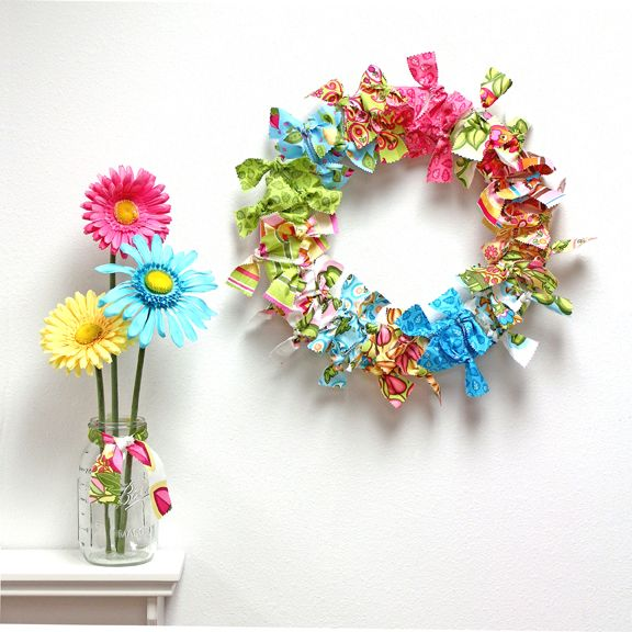 how to make a rag wreath with wire hanger