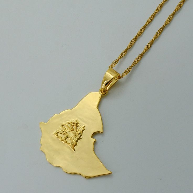 Gold Plated Ethiopian Map Necklace for Men & Women  #000801