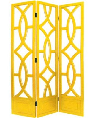 Separate your space while adding a punch of color with this canary yellow room divider. Get it here: www.bhg.com/shop/lamps-plus-charleston-yellow-three-panel-screen-p5084e9c582a7534baac8d7c7.html?mz=a