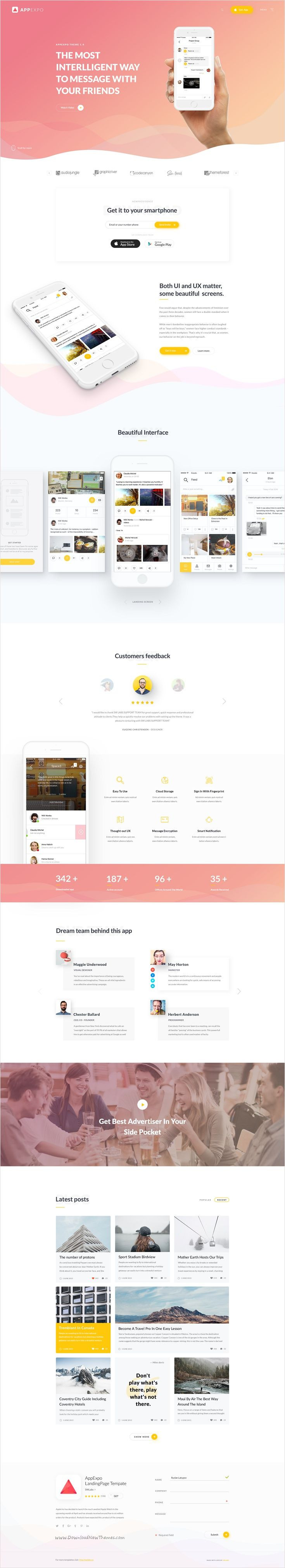 AppExpo is a creative and unique #PSD #template for amazing #apps landing page website with 6 multipurpose homepage layouts and 13 detailed layered PSD files download now➩ https://themeforest.net/item/appexpo-multipurpose-app-landingpage-psd-template/17447950?ref=Datasata