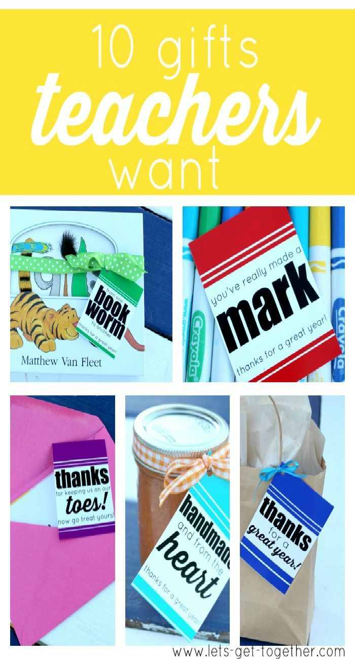 10 Gifts Teachers Want from Let's Get Together - awesome gift ideas and free printable gift tags. Love the pedicure idea! #gifting #teachergifts