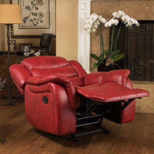 Contemporary Style Christopher Knight Home Hawthorne PU Leather Glider Recliner Club Chair with Dual Function Perpect for Media or Living Room (Red)