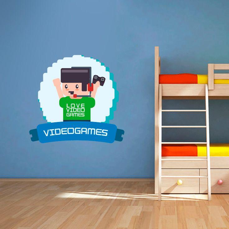 Muursticker Love videogames | Vrolijk die ene saaie muur op met een muursticker! Gemaakt van vinyl en gemakkelijk aan te brengen. Bekijk snel onze collectie! #muur #sticker #muursticker #slaapkamer #interieur #woonkamer #kamer #vinyl #eenvoudig #voordelig #goedkoop #makkelijk #diy #gamer #videogame #games #videospel #spelletjes #pixels #jongenskamer #kinderkamer