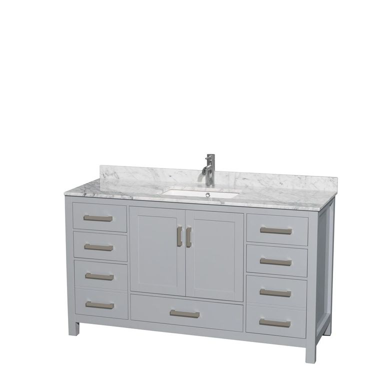 Photo On Wyndham Collection Sheffield inch Gray Single Vanity Undermount Square Sink