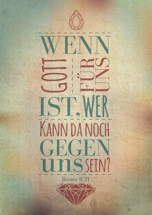 """Eine weitere schöne Leinwand aus der Serie WortProjekt: """"Wenn Gott für uns ist, wer kann da noch gegen uns sein?"""" (Römer 8, 31)"""