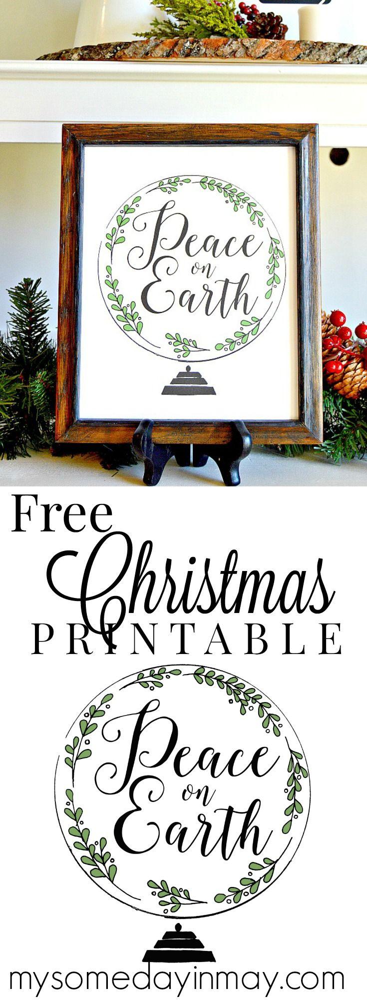Free Christmas Printable Peace on Earth