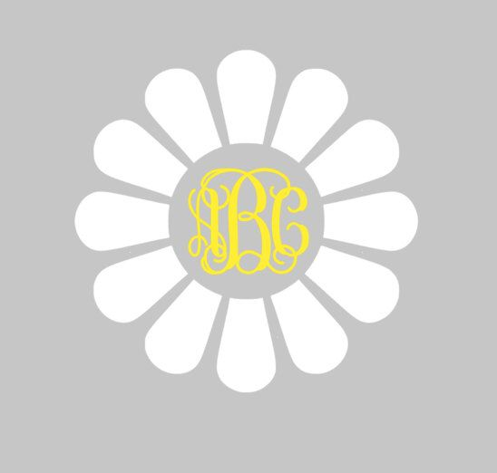 DAISY Monogram Decal for car, laptop, cup, cell phone, Samsung, iphone, notebook, tumbler, boots, mailbox and MORE! by aSweetSouthernAccent on Etsy https://www.etsy.com/listing/223565276/daisy-monogram-decal-for-car-laptop-cup