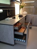 Multiple drawer units combine to create ample and well-ordered kitchen storage