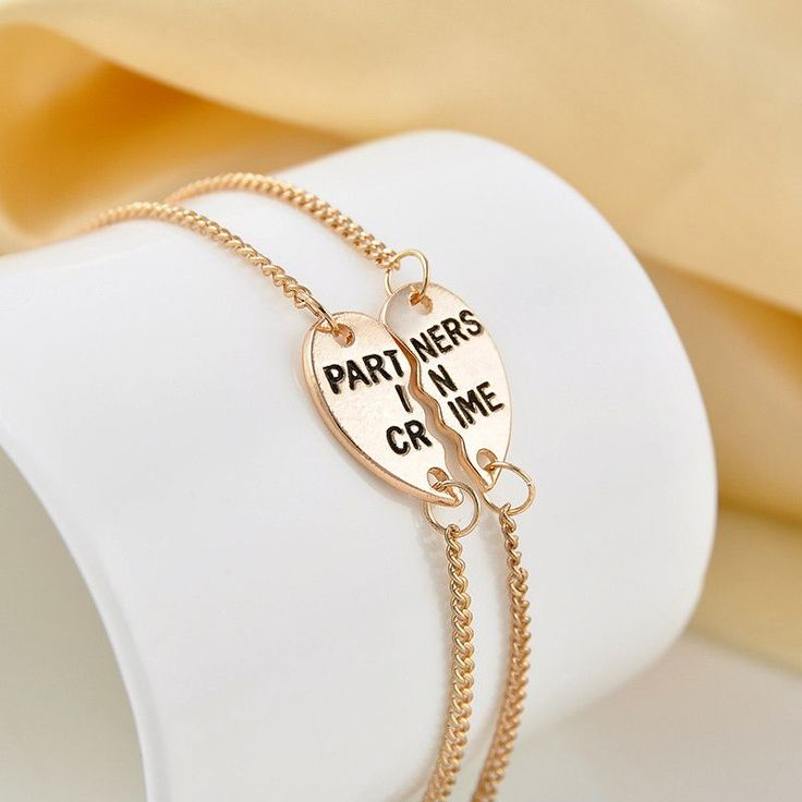 Silver Plated Partners In Crime Engraved Bracelets, 2 piece Set. One for you and one for your Bestie! A great gift to share with your partner or best friend, sister, or kids. Each pendant is approx. 0