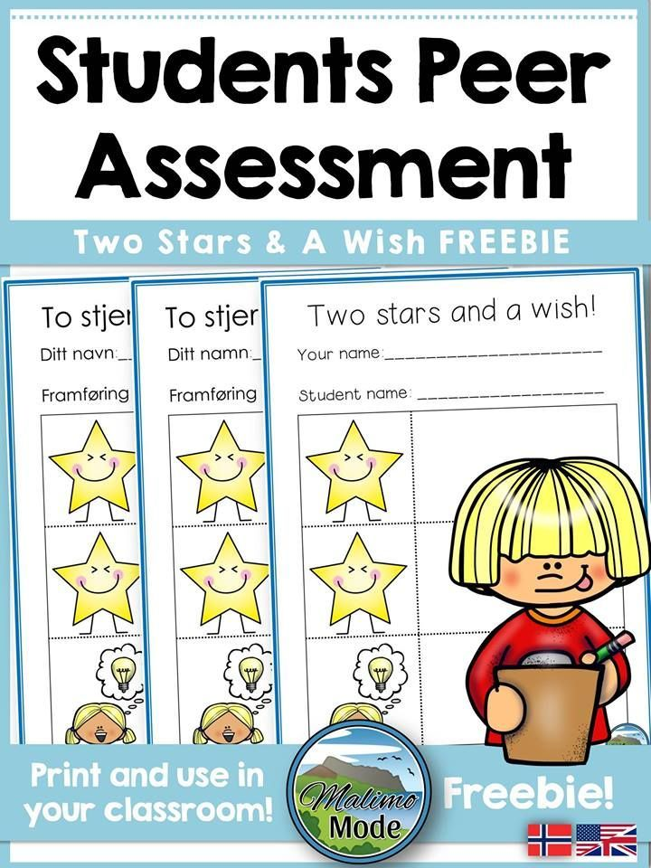 Free students peer assessment sheets - with two stars and one wish. Available in English and Norwegian, color & black and white. Download for free!