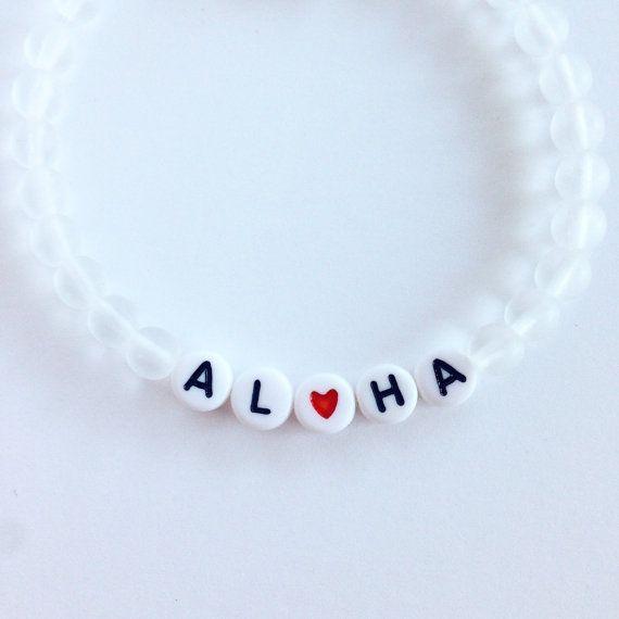 ALOHA Clear Frosted Glass Matte Beaded Bracelet – Alphabet Bead Custom Beach Hawaiian Boho Lux Stretch Bracelet