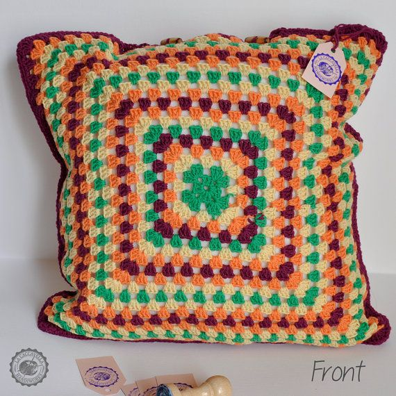 Crochet multicolor pillow  Merino Wool  Egyptian by LaCaccavella, €49.50