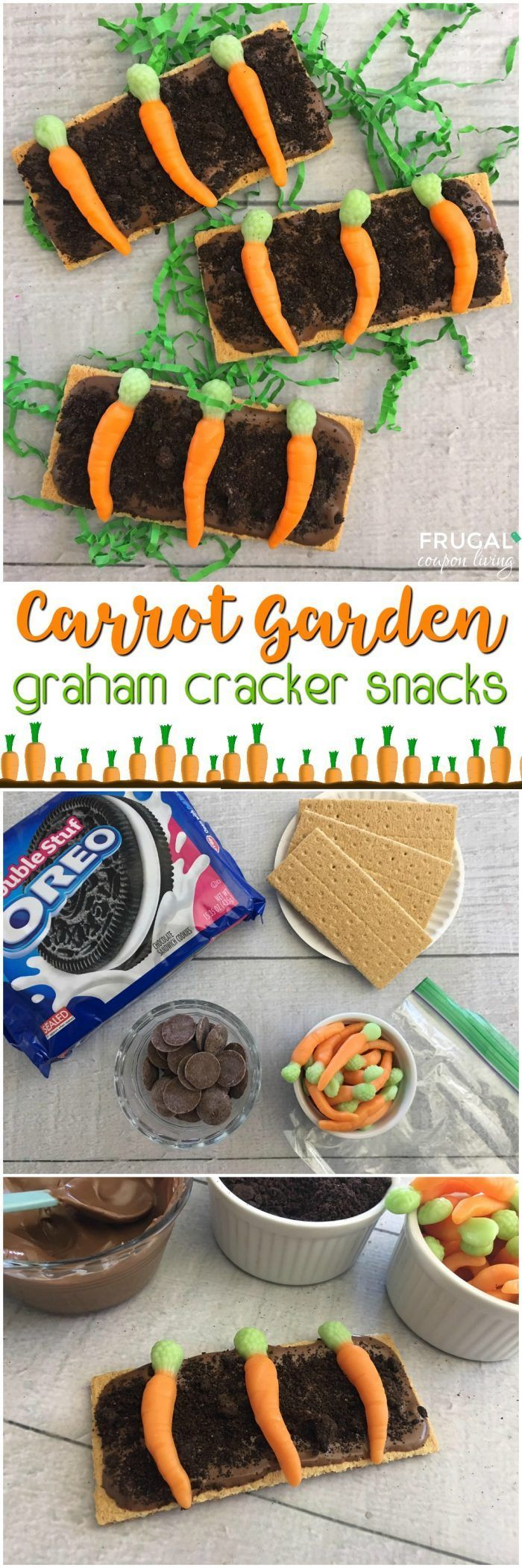 Graham Cracker Carrot Garden Snack on Frugal Coupon Living...  because who said ...
