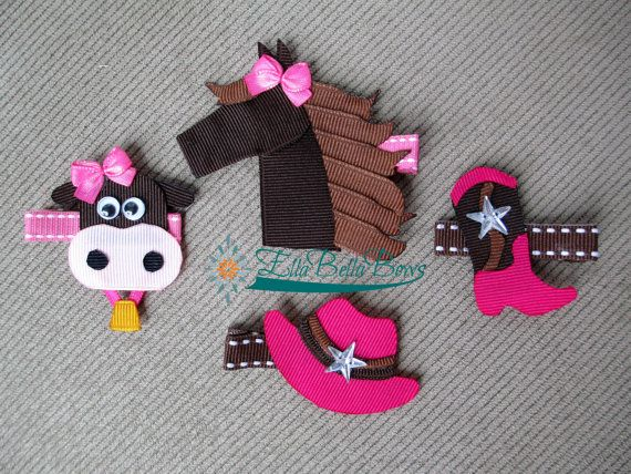 Cowgirl Collection, Cowgirl Boot and Hat, Horse and Cow Ribbon Sculpture Hair…