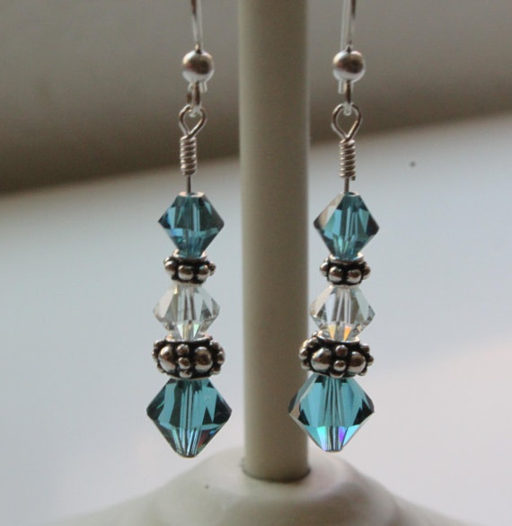 Sparkling Shades of Aqua Swaroski Earrings by LeylasJewelryBox, $14.95