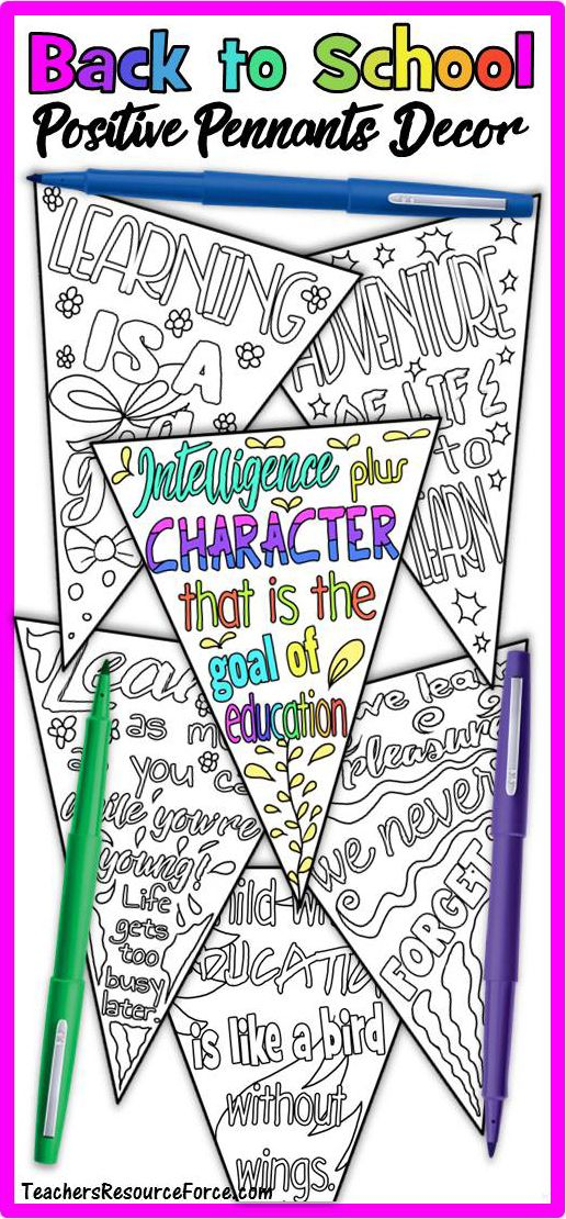 First Week of School: Growth Mindset Positive Quotes Coloring Pages Banner