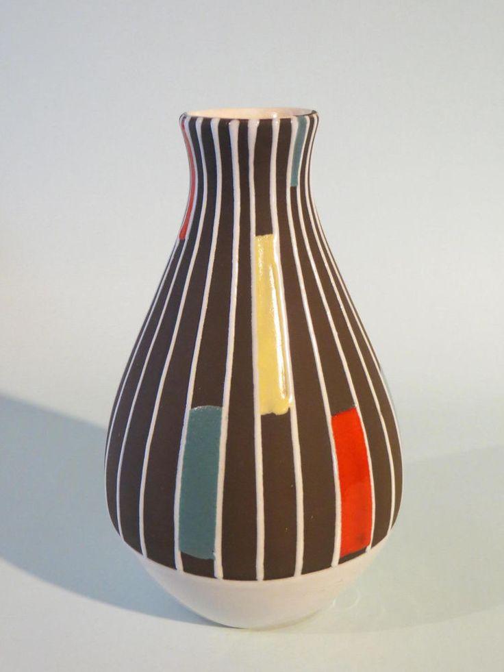 50er jahre keramik vase schlossberg form 254 17 dekor. Black Bedroom Furniture Sets. Home Design Ideas