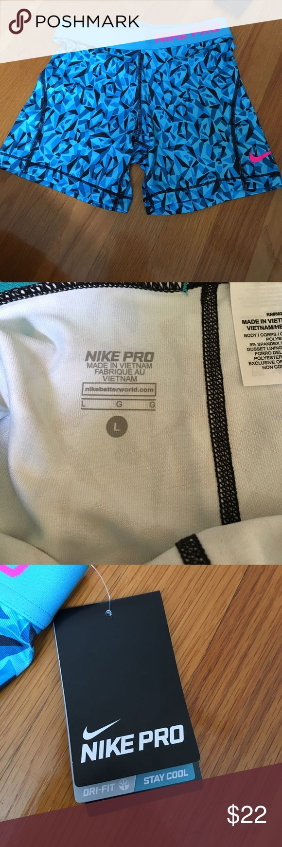 Blue nike pro spandex Blue nike pro spandex, girls large - fits as a small/extra small for ladies (00-2)  new with tags Nike Bottoms Shorts