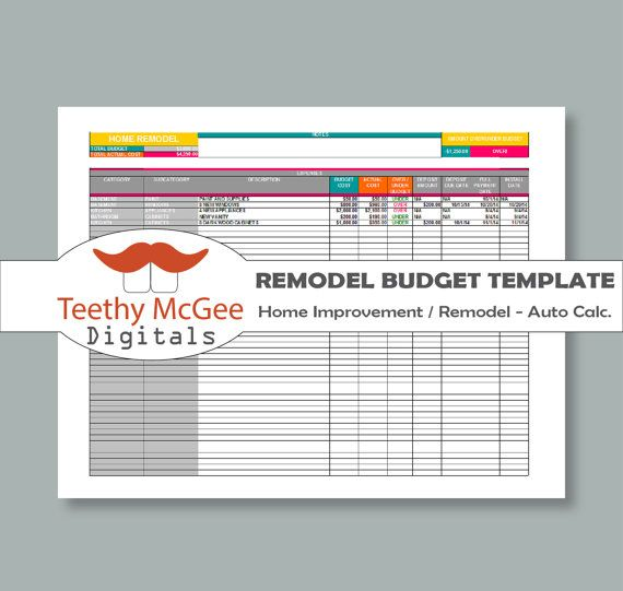 Home Improvement remodel Budget Template  by TeethyMcGeeDigitals