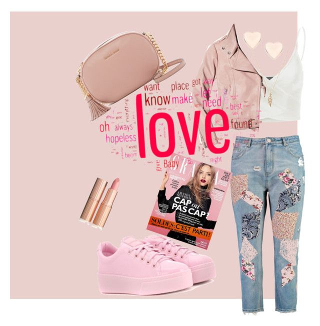 """""""Pink jeans"""" by pusheencute on Polyvore featuring Boohoo, Doublju, Mackage, MICHAEL Michael Kors, Kenzo and Ted Baker"""