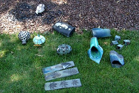 A few of the more than 100 pieces fired by students in the first summer session's Raku Workshop.