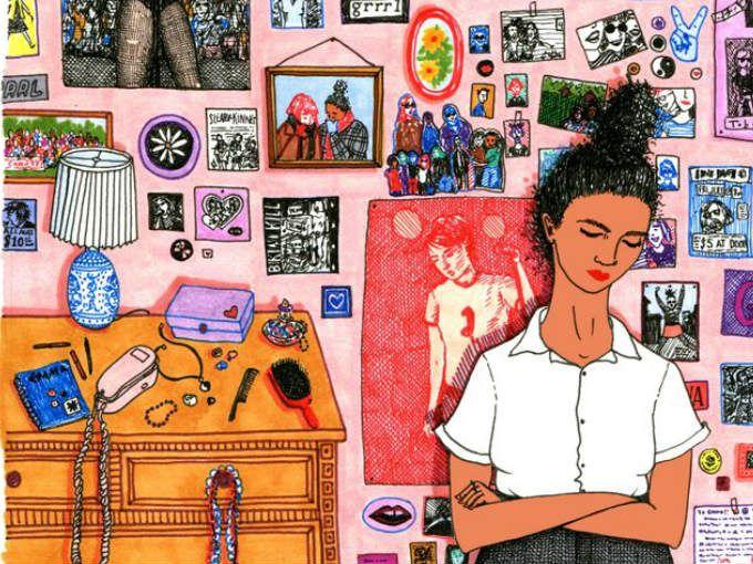 En sus ilustraciones, llenas de color y detalles, la ilustradora Sally Nixon recrea los ratos de ocio y relajación que muchas mujeres disfrutamos. Cada una de sus obras puede ser vista más de una vez para encontrar en ellas elementos nuevos: libros de Lena Dunham, parafernalia riot grrrl y cobijas tejidas.